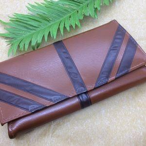 Handbags - Vintage  Brown and tan vinyl clutch wallet